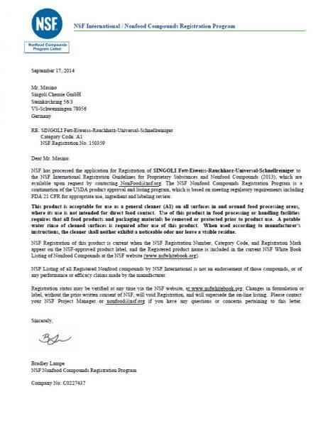 Fett-Eiweiss-Rauchteerloeser-NSF-Zulassung