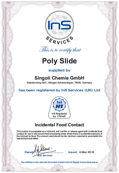 Poly-Slide-H-1-Zulassungen